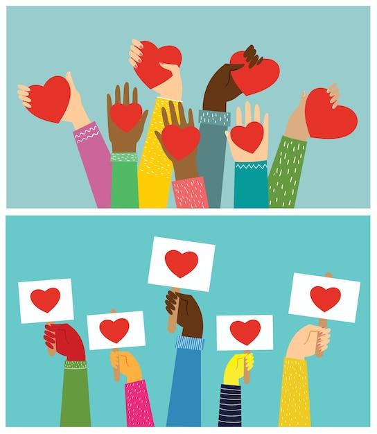 Руки с сердечками. Premium векторы