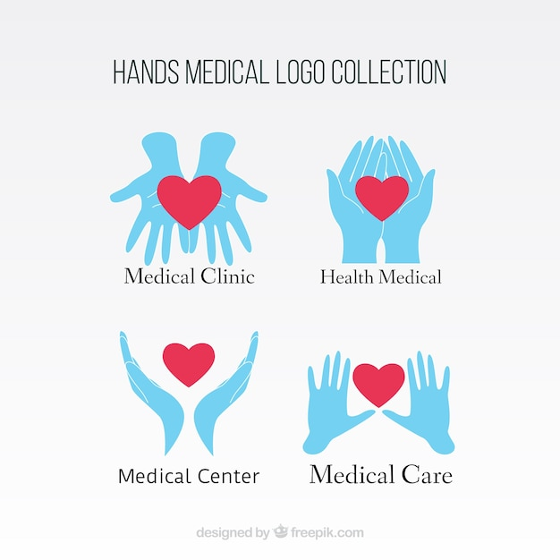 Hands with heat medical logos Free Vector