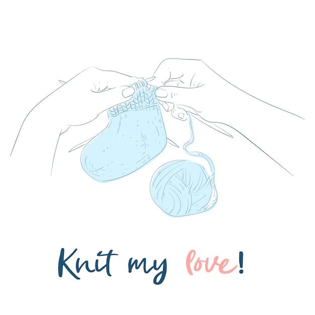 Hands with knitting needles handmade. Premium Vector