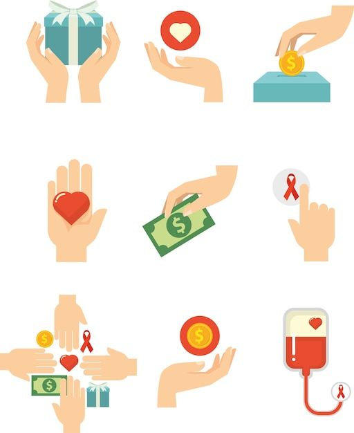 Hands With Love For Charity Symbol Vector Premium Download