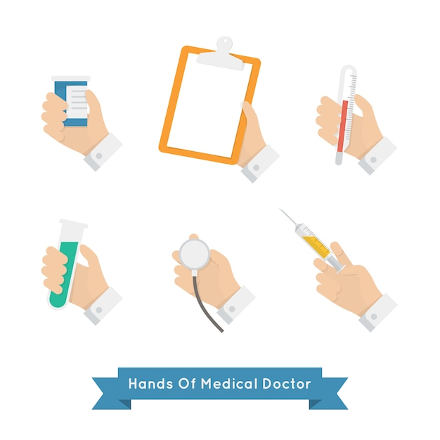 Hands with medical tools Free Vector