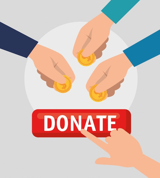 Hands with money for charity donation Free Vector
