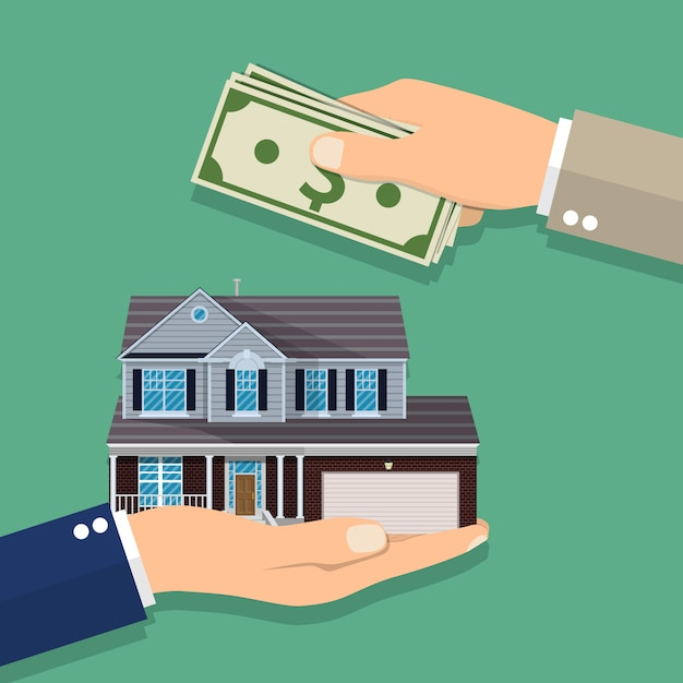 Hands with money and house. Premium Vector