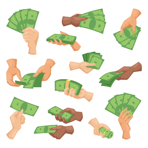Hands with money vector illustration isolated Premium Vector