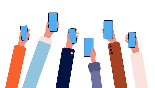 電話を持つ手。スマートフォンを手に持っている多くの人々は、ガジェットのインターネット接続オンライン友情ベクトルで群がっています。人間の手でイラストスマートフォンガジェット Premiumベクター