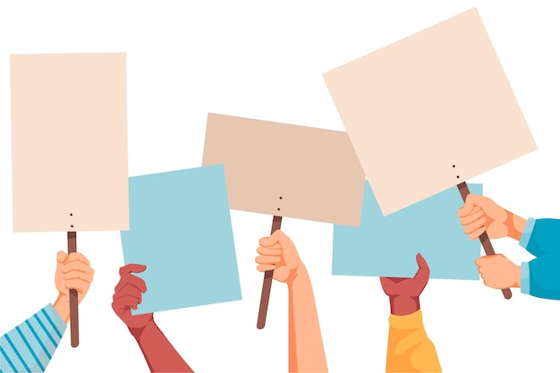 Hands with placards concept Free Vector