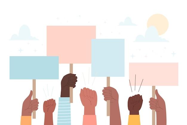 Руки с плакатами протестующих людей Бесплатные векторы