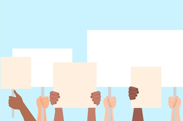 Hands with placards Free Vector