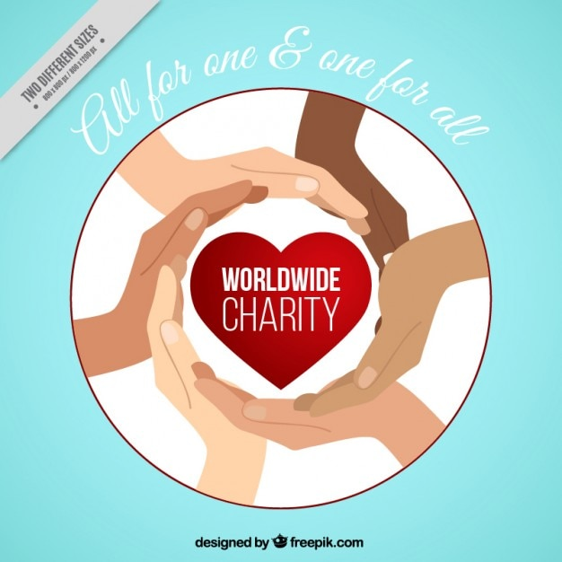 Hands with a red heart of charity background Free Vector