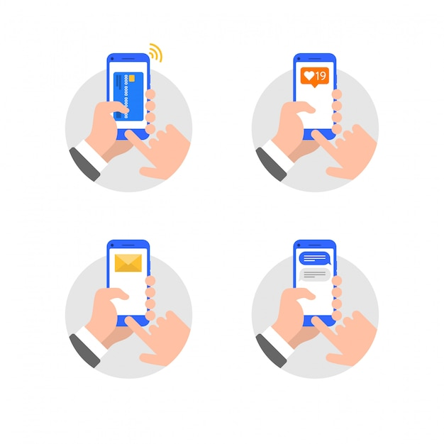 Hands with smartphone flat style illustration Premium Vector