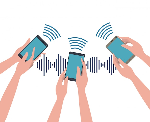 Hands with smartphone and sound wave Premium Vector