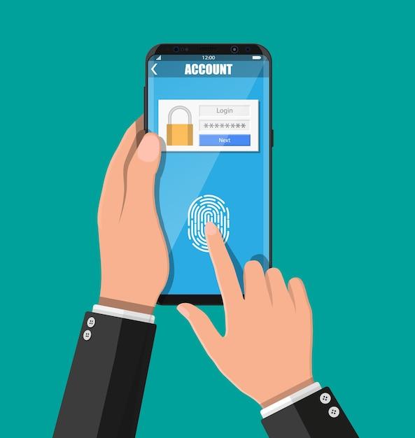 指紋センサーでロックを解除したスマートフォンを持った手。携帯電話のセキュリティ、指による個人アクセス、アカウント管理へのログインフォーム、承認、ネットワーク保護。ベクトルイラストフラット Premiumベクター