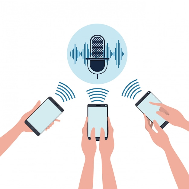 Hands with smartphone and voice assistant Premium Vector