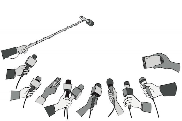Hands with various microphones Premium Vector