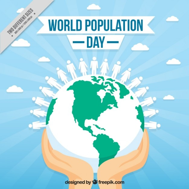 Hands with the world background for population day Free Vector