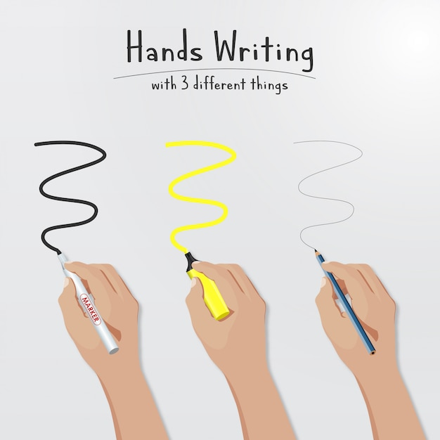 Hands writing Premium Vector