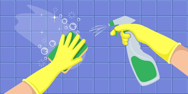 Hands in a yellow gloves holders disinfectant spray bottle and washes a wall. concept for cleaning companies. flat vector illustration. Premium Vector