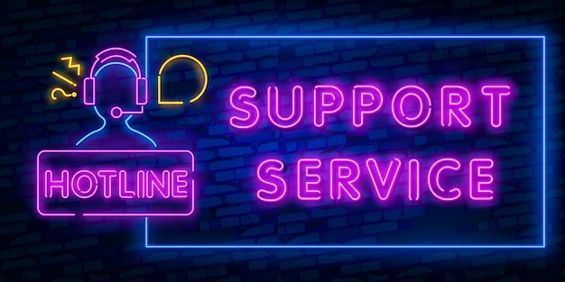 Handset neon light icon. incoming call. hotline. telephone support. glowing sign. Premium Vector