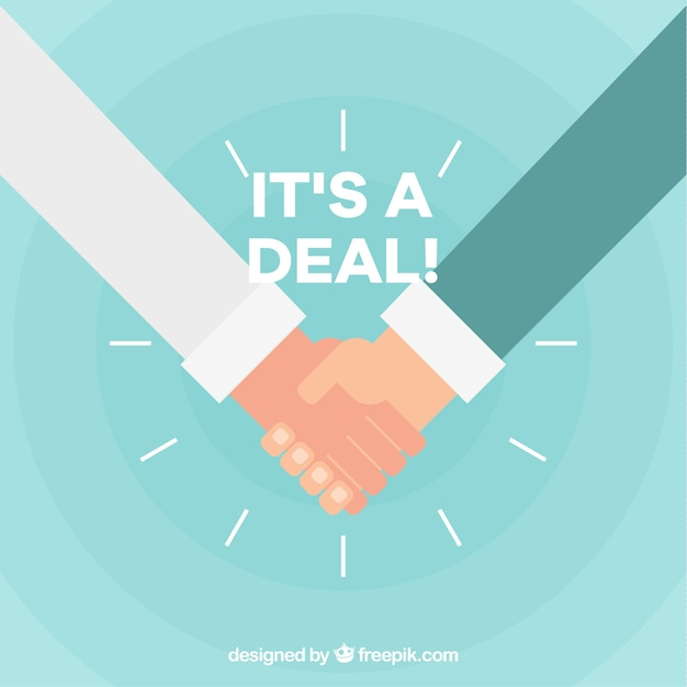Handshake deal background in flat style Free Vector