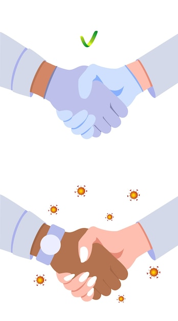 Handshake in medical gloves and without. coronavirus protection Premium Vector