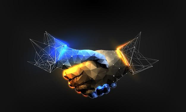 Handshake in polygonal wireframe style Premium Vector