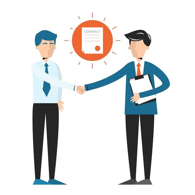 握手、2人のビジネスマン間の合意のサイン。契約書に署名する Premiumベクター