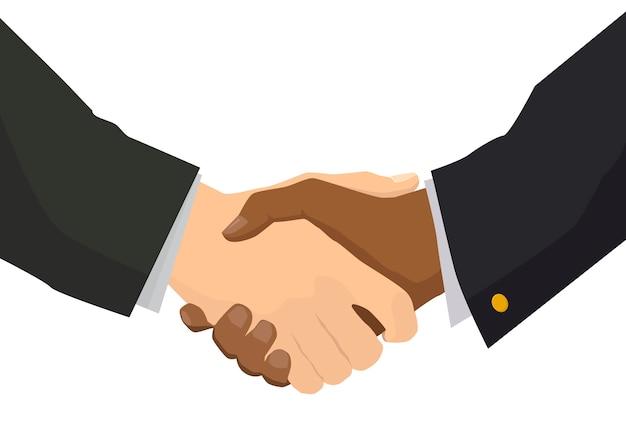 Рукопожатие с черной рукой, иллюстрации для бизнеса и финансов концепции на белом Premium векторы
