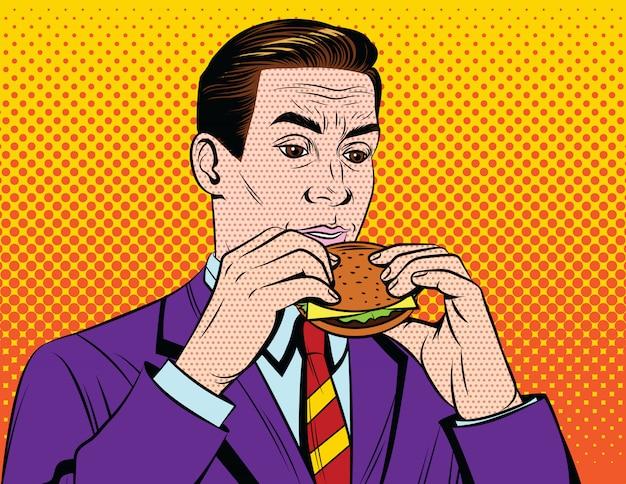 Handsome adult guy in suit having lunch break with junk food Premium Vector
