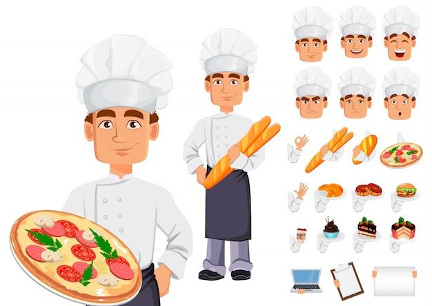 Handsome baker in professional uniform Premium Vector
