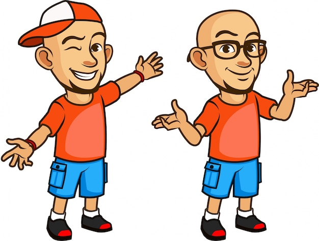 Premium Vector Handsome Bald Geeky Young Man In Glasses Cartoon