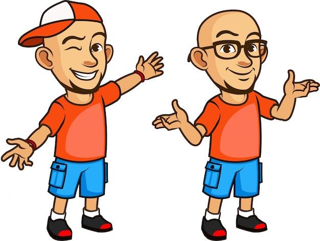 Красивый лысый geeky молодой человек в очках мультфильм Premium векторы