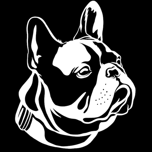 Handsome black french bulldog. this is frenchie series in black white style. Premium Vector