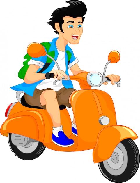 Handsome boy riding scooter Premium Vector