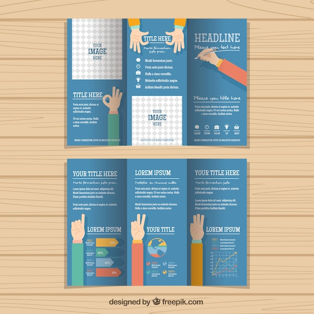 Handsome business trifold with hands Free Vector