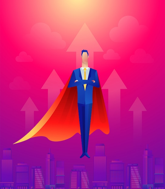 Handsome businessman super leader flying in front of civil city and sunlight. Premium Vector