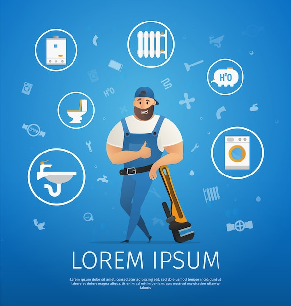 Handsome company plumber service with wrench Premium Vector