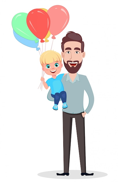 Handsome father holding his son Premium Vector
