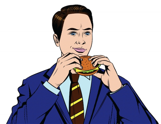 Handsome guy from 50-60s in suit eating fast food isolated from white background Premium Vector