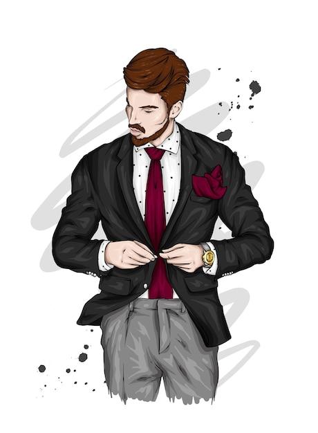 Красивый парень в стильном костюме. Premium векторы
