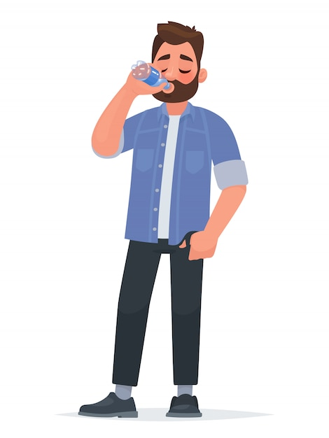 Handsome man drinking water from a bottle. thirst Premium Vector