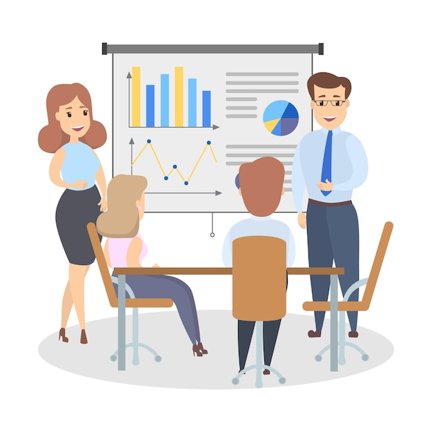 Handsome smart businessman standing at the white board making presentation and explaining graphs to the group of people. isolated flat vector illustration Premium Vector
