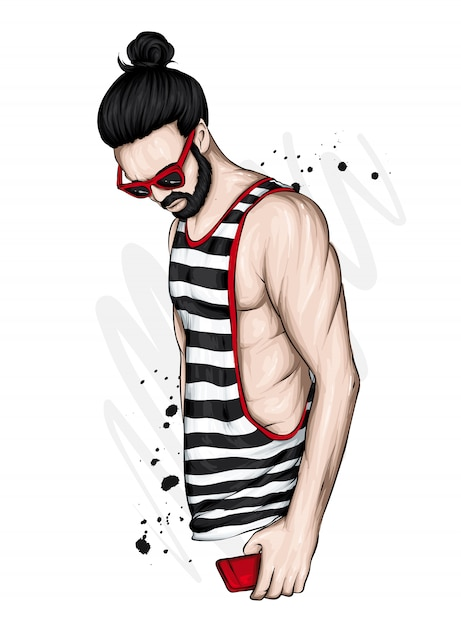 A handsome sporty  guy in a t-shirt. Premium Vector