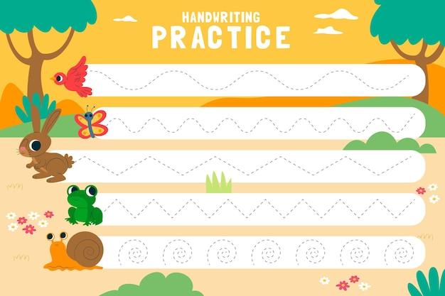Pratica di scrittura a mano per bambini Vettore gratuito
