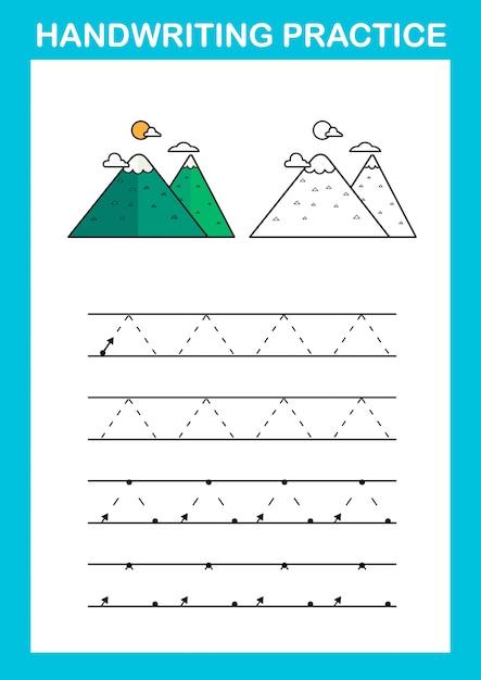 Handwriting practice sheet illustration vector Premium Vector