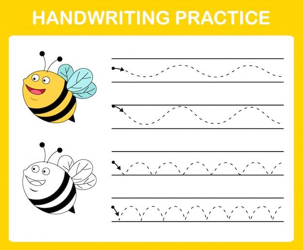 Handwriting practice sheet illustration Premium Vector