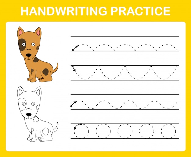 Handwriting practice sheet illustration Premium Vector
