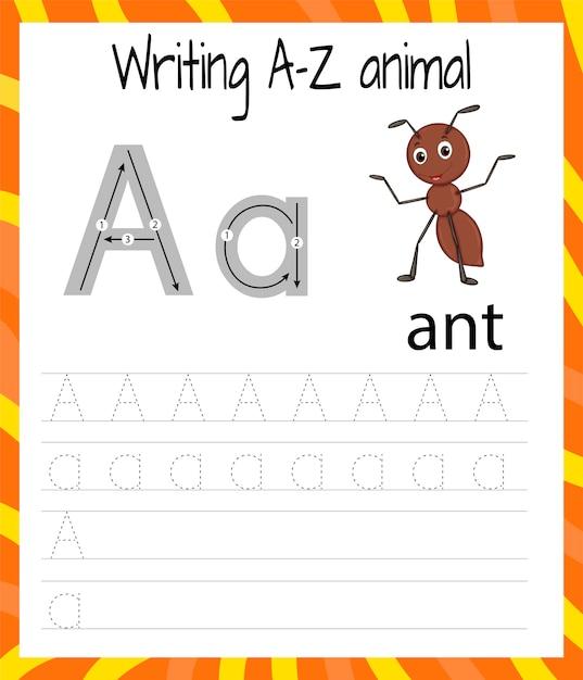 Handwriting practice sheet a Premium Vector