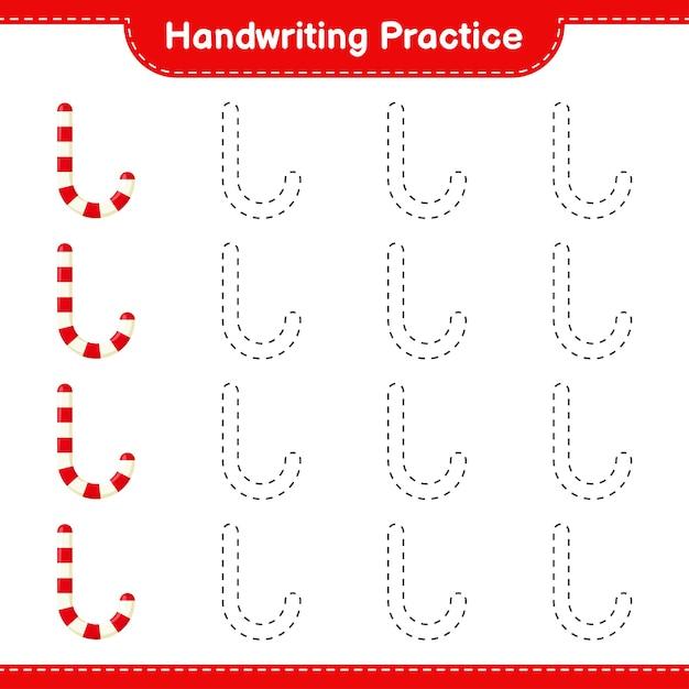 Почерк практика. трассировка линий леденцов. развивающая детская игра Premium векторы