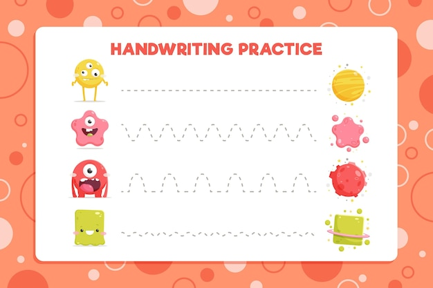 Pratica di scrittura a mano con batteri Vettore gratuito