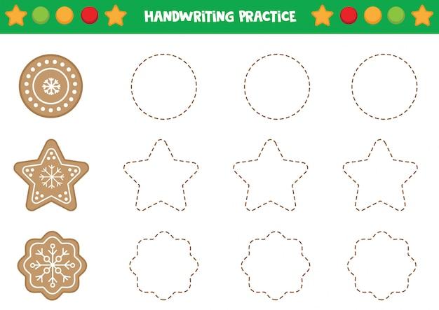 Handwriting practice with gingerbread cookies. Premium Vector